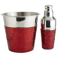 Bar none: Mosaic-glass bar accessories will appeal to the man who enjoys entertaining. Red glass bits are applied by hand over stainless steel to create an eye-catching bucket and cocktail shaker. Shaker $19.95, ice bucket $29.95 at Pier 1 and pier1.com.