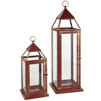 Light the way: Brushed metal lanterns will light up his life and add romance indoors or out. Hand-painted and rust-resistant, the lanterns use a 3-by-4-inch (small) and 4-by-6-inch (tall) pillar candle (sold separately). Small lantern (14.4 inches tall) $15; tall lantern (23.6 inches) $30 at Pier 1 and pier1.com.