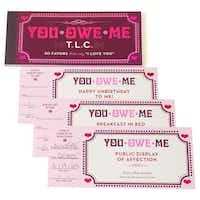Promises, promises: What better way to grant a loved one's wishes than with vouchers granting favors? Sets of 15 different coupons provide 30 opportunities to show affection. $5.95 at Z Gallerie stores and zgallerie.com.