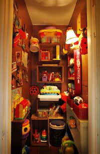Holley transformed a standard hall closet into a play space for her grandsons.