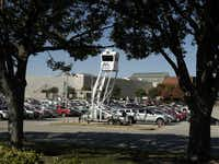 The Arlington Police Department's sky watch towers are in place at The Parks mall to keep a birds-eye view on legitimate shoppers and those looking for a five-finger discount.