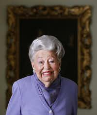 In this photo taken March 9, 2011, pioneering Dallas real estate broker Ebby Halliday poses for a photo at her Dallas home. Halliday died of natural cause at her home on Tuesday, Sept. 8, 2015, spokesman Cody Baker said. She was 104.Kye R. Lee  -  AP
