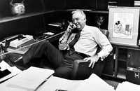 Cronkite talked on the phone prior to his final broadcast as CBS News anchorman on March 6, 1981.