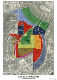 A proposal to rezone the Oak Cliff Gateway, about 850 acres surrounding Lake Cliff Park, would allow for building heights of up to 20 stories in some areas. Lake Cliff Park and the Lake Cliff Historic District would remain unchanged.(Courtesy of the CITY OF DALLAS)