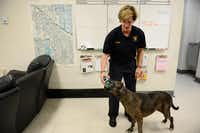 Lt. Patti Krafft lets Hula, a live find disaster dog, stick her nose inside a pet oxygen mask at Fire Station No. 48 in Lake Highlands on March 26. The Highlands Meadows Neighborhood Association Petwatch group donated animal oxygen masks to the fire station.(Rose Baca - neighborsgo staff photographer)