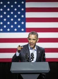 President Barack Obama speaks at Gilley's on Saturday. (Ashley Landis/Pool photo, The Dallas Morning News)