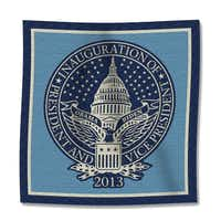The inaugural seal is woven into a cotton throw that sells for $165.