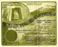 Some are still drawn to paper stocks, such as this certificate for the Gold Glen Mining Milling and Tunnelling Co.
