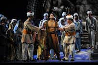 Guards seize Nadir (Sean Panikkar) after he is caught with the priestess Leïla in The Pearl Fishers at Fort Worth Opera. 04292014xARTSLIFEELLEN APPEL