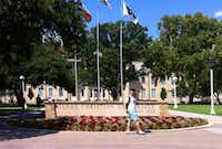 Main entrance to the Texas Christian University (TCU) campus on University Blvd. in Fort Worth, Texas August 28, 2014. (Guy Reynolds/The Dallas Morning News)