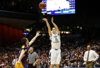 Former Highland Park player Will Miller (11),  now a freshman at Mount St. Mary's, scored 21 points against Albany in this year's opening round of the NCAA tournament.(Gregory Shamus - Getty Images)