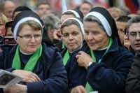 VATICAN CITY, VATICAN - APRIL 27:  A group of nuns attend the canonisations of Popes John Paul II and John XXIII in Saint Peter's Square on April 27, 2014 in Vatican City, Vatican. Dignitaries, heads of state and Royals from Europe and from around the world are to attend the canonisations in the Vatican.  (Photo by Giorgio Cosulich/Getty Images)Giorgio Cosulich - Getty Images