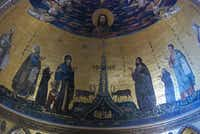 Colorful mosaics from the 12th century decorate the basilica of Rome's church of San Giovanni in Laterano, (church of St. John in Lateran). San Giovanni was the first church built in Rome and the papal throne in the apse is still reserved for the pope.
