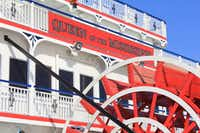 The Queen of the Mississippi is an old-fashioned paddle wheeler. Diesel engines supplement the paddle wheel.