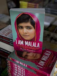 Copies of a newly published book about Malala Yousafzai are on display at a bookstore in Islamabad, Pakistan.