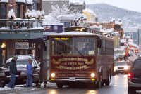 A free trolley takes folks around the downtown shopping area of Park City, Utah.(Mark Maziarz - Mark Maziarz)