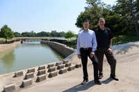 Coppell Parks and Recreaction Director Brad Reid (left) and Coppell Recreation Development Committee Chairman Ed Guignon stand next to the erosion control construction underway at Andy Brown Park East. The park is part of a master planned redevelopment that requires voters to reauthorize a half-cent sales tax in November.