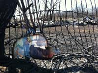 Burned pages of literature and other rubble are all that remain of a woman's house in Perrin, Texas, shown on Monday. Investigators tracked her 100 miles from the ashes of her burned-out house in Parker County to the Corsicana doorstep of her former neighbor.