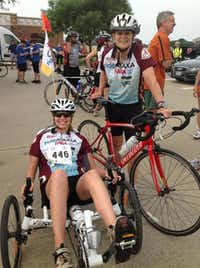 Emily Penn and her mother, Alexis Penn, participated in the Wild Ride Against Cancer in Richardson last year.(Emily Penn)