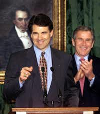 Rick Perry, who celebrated with President-elect George  W. Bush after taking the oath to  become governor  in 2000, wasn't  always so conservative. Initially  mimicking Bush's  centrist bipartisanism, Perry soon  signed a hate  crimes bill that  included gays as a  protected class —  an action that  wasn't popular  with the Republican Party's right  wing.