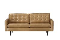 The button-tufted Petrie sofa is upholstered in top-grain, full-aniline leather with a certified sustainable, kiln-dried hardwood frame. $3,899. Crate & Barrel stores or www.crateandbarrel.com