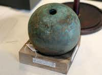 This cannonball, along with the rest of the collection, will eventually be a key component of a museum. Some pieces returned to the Alamo for the first time in 178 years.(BOB OWEN - The Associated Press)