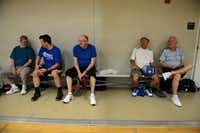 Pickleball players take a rest in between sets at the Rowlett Community Centre.( Rose Baca  -  neighborsgo staff photographer )