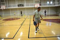 Ed Guancial gets ready to serve in a game of pickleball at the Rowlett Community Centre.Rose Baca - neighborsgo staff photographer