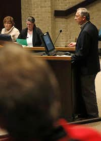 Gary Henkel, a resident of Plano, speaks in opposition to Plano's new comprehensive plan at the Planning & Zoning Commission meeting at the Plano Municipal Center on March 2.( Staff photo by Rose Baca   -  DMN )