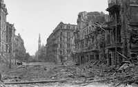 The ruins of the Church of the Holiest Savior in Warsaw were recorded by a photographer in the 1940s. The church was completed in 1927 and then severely damaged during World War II and rebuilt under communist in the 1950s.