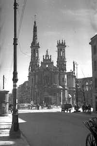 In this 1940s photo, the ruins of Marszalkowska street, leading into Savior Square are shown after World War II in Warsaw, Poland.