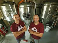 Andrew Smeeton (left) and Jeff Douglas are the owners of Four Bullets Brewery in Richardson.( Staff photo by Nathan Hunsinger  - Staff Photographer)