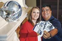 Tracie and Jeff Roel pose at their home in Allen. The Roel's got married within the past two years, and one of the non-negotiable aspects of their finances was Dallas Cowboys season tickets.( Vernon Bryant  -  Staff Photographer )