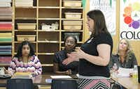 Richardson ISD math specialist Ann Pearce trained the district's math teachers on the new Texas Essential Knowledge and Skills standards in August.( David Woo  -  Staff Photographer )