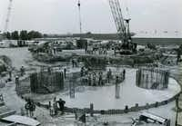 """A """"table base"""" was laid for Reunion Tower in 1976. The column stood 500 feet tall on completion."""