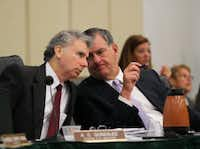 Mayor Mike Rawlings (right) said the prospect of A.C. Gonzalez leaving the city came up in the city manager's annual review. (File Photo)