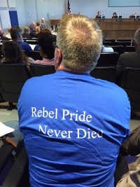 Richland High School Rebels supporter at Thursday night's board meeting. (Jeff Mosier/DMN Staff Writer)