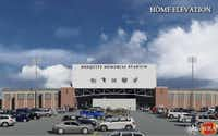 Mesquite Memorial Stadium's renovations will include a newer facade as depicted in this rendering. The stadium was built in 1976.(Rose Baca - neighborsgo staff photographer)