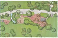 This rendering shows an aerial view of what a reconstructed Stone Tables area would look like. Reconstruction would include renovating the bathroom structure (far left), repairing the lily pond, restoring the broken stone tables and updating the pavilion (far right).White Rock Lake Conservancy - Courtesy photo