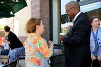 Orlando Riddick, the new superintendent of Cedar Hill ISD, talks with Teresa Khowu during an informal meeting May 15 at Starbucks in Cedar Hill.ROSE BACA  -  neighborsgo staff photographer