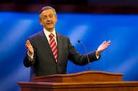 Robert Jeffress, the influential senior pastor of First Baptist Dallas, was full of praise for Republican presidential candidate Donald Trump during a rally at the Fort Worth Convention Center last month. (Tom Fox/Staff Photographer)