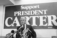 President Jimmy Carter?s chief inflation fighter Robert Strauss Takes his seat in Washington on Monday Dec. 3, 1979 to comment on statement Edward M. Kennedy, D-Mass., with regard to the hostage situation. Strauss feared the statements would cause Iran?s leaders to misread Americas' opinion and perhaps undermine President Carter?s efforts to win release of the hostages.( IRA SCHWARZ  -  AP )