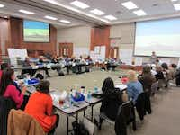 Members of Lewisville ISD's strategic design team met in November 2011. The team comprises 26 members: six from the district and 20 from the community.Photo submitted by KAREN PERMETTI