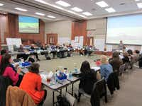 Members of Lewisville ISD's strategic design team met in November 2011. The team comprises 26 members: six from the district and 20 from the community.(Photo submitted by KAREN PERMETTI)