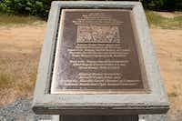 A memorial from the Bienville Parish Sheriff dedicated to the lawmen who killed Clyde Barrow and Bonnie Parker on May 23, 2014. The memorial is seven miles out of Gibsland, La., the last stop the couple made before they were killed.(Tristan Hallman - Staff)