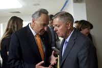 """Sens. Chuck Schumer (D-N.Y.), left, and Lindsey Graham (R-S.C.), two the members of the """"Gang of Eight,"""" speak before a Senate vote on immigration, in Washington, June 27, 2013. The most significant overhaul of the nation's immigration laws in a generation passed the Senate with strong bipartisan support Thursday. (Christopher Gregory/The New York Times)"""