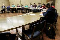 "University of Dallas students participate in a discussion of ""The Scarlet Letter"" in an American literature class that limits the size for a more challenging environment. The small Catholic school in Irving gives nearly every freshman a grant or scholarship — or both.Mona Reeder  -  Staff Photographer"