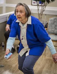 Bobby Lou Turrentine racks up strikes whil playing with the Young Strikers Wii bowling team at the C.C. Young senior living center.Ron Heflin - Special Contributor