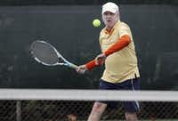 Keeping his eye on the ball, Joe Jameson gets set to hit a forehand.(Brandon Wade - Special Contributor)