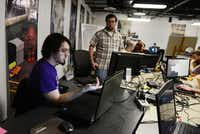 Guildhall students Jeff Listman (left) and Bryan Davenport work on their video game, Operation: Vienna!.Photo by ROSE BACA - neighborsgo staff photographer